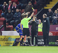 Lincoln City manager Danny Cowley is shown a yellow card by referee John Brooks<br /> <br /> Photographer Chris Vaughan/CameraSport<br /> <br /> The EFL Sky Bet League Two - Lincoln City v Exeter City - Tuesday 26th February 2019 - Sincil Bank - Lincoln<br /> <br /> World Copyright © 2019 CameraSport. All rights reserved. 43 Linden Ave. Countesthorpe. Leicester. England. LE8 5PG - Tel: +44 (0) 116 277 4147 - admin@camerasport.com - www.camerasport.com
