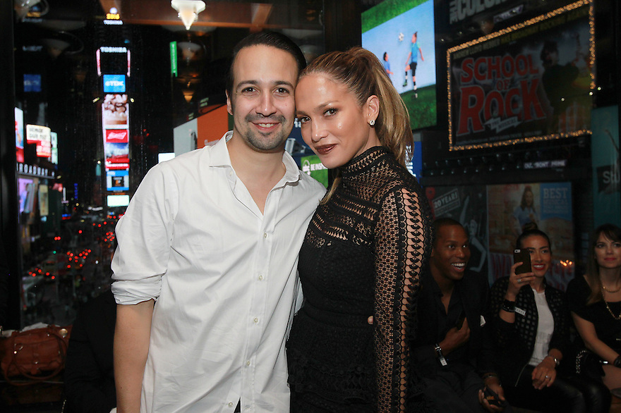 "Actor Lin-Manuel Miranda and singer Jennifer Lopez  are seen at the R Lounge where Hennessy V.S.O.P Privilege Celebrated Lin-Manuel Miranda's Final Performance in ""Hamilton""  on Saturday, July 9, 2016, in New York. (Photo by Donald Traill/Invision for Hennessy V.S.O.P Privilege/AP Images)"