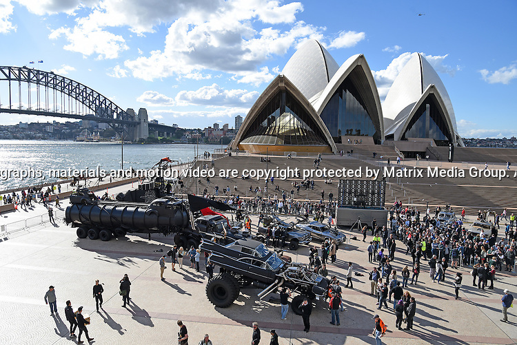 13th May, 2015 SYDNEY AUSTRALIA<br /> EXCLUSIVE <br /> Pictured, the vehicles for the Mad Max Fury Road film on display at Sydney Opera House Forecourt. Sydney, NSW. <br /> <br /> *No internet without clearance*.MUST CALL PRIOR TO USE +61 2 9211-1088. Matrix Media Group.Note: All editorial images subject to the following: For editorial use only. Additional clearance required for commercial, wireless, internet or promotional use.Images may not be altered or modified. Matrix Media Group makes no representations or warranties regarding names, trademarks or logos appearing in the images.