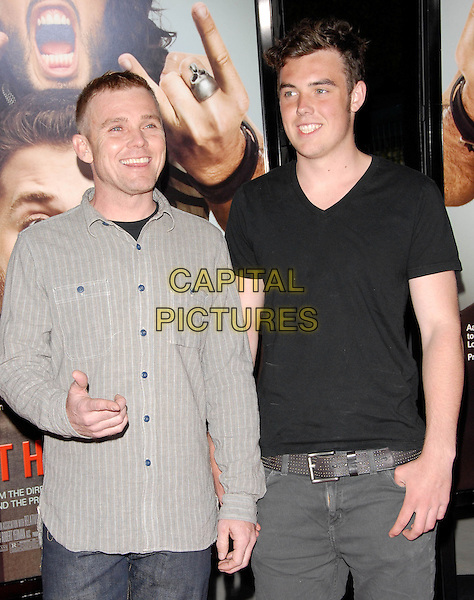 RICK SCHROEDER & HOLDEN (SON).L.A. Premiere of Get Him to The Greek held at The Greek Theatre in Los Feliz, California, USA..May 25th, 2010        .half length shirt black father dad son family hand grey gray ricky schroder .CAP/RKE/DVS.©DVS/RockinExposures/Capital Pictures.