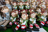Christmas elves ornaments at traditional outdoor Christmas market at Viktualienmarkt in Munich, Bavaria, Germany