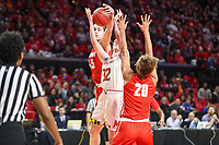 College Park, MD - March 23, 2019: Radford Highlanders forward Savannah Felgemacher (45) blocks Maryland Terrapins guard Sara Vujacic (32) shot during game between Radford and Maryland at  Xfinity Center in College Park, MD.  (Photo by Elliott Brown/Media Images International)