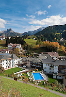 Italy, South Tyrol, Alto Adige, Dolomites, San Cristina in Val Gardena with Gran Cir mountain and Sella Group (right) | Italien, Suedtirol, Dolomiten, Groednertal, St. Christina in Groeden mit Grosser Cirspitze und Sellagruppe (rechts)