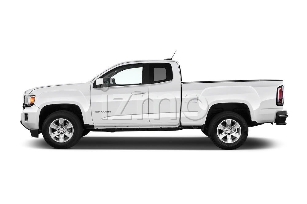 Car Driver side profile view of a 2016 GMC Canyon 2WD SLE Extended Cab 4 Door Pick-up Side View