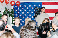 Kentucky senator and Republican presidential candidate Rand Paul greets people at a celebration at his campaign headquarters in Manchester, New Hampshire.