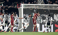 Calcio, Serie A: Juventus - AS Roma, Torino, Allianz Stadium, 23 dicembre, 2017. <br /> Juventus' Medhi Benatia celebrates after scoring with his teammates during the Italian Serie A football match between Juventus and Roma at Torino's Allianz stadium, December 23, 2017.<br /> UPDATE IMAGES PRESS/Isabella Bonotto