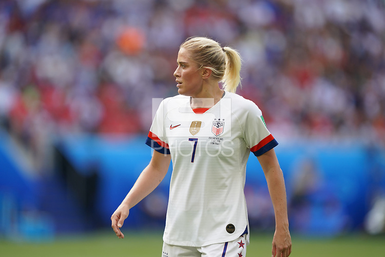 DECINES-CHARPIEU, FRANCE - JULY 07: Abby Dahlkemper #7 during the 2019 FIFA Women's World Cup France Final match between Netherlands and the United States at Groupama Stadium on July 07, 2019 in Decines-Charpieu, France.