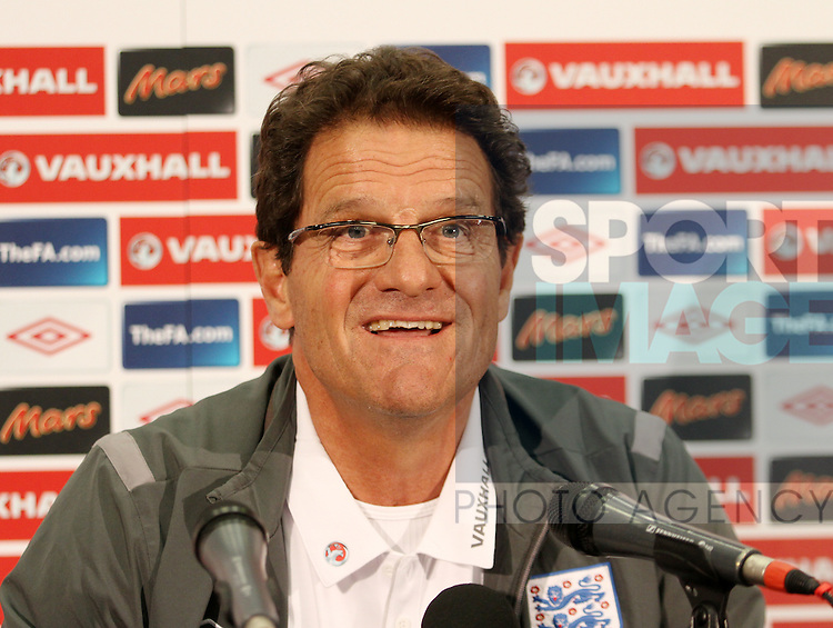 Englands Fabio Capello during his press conference