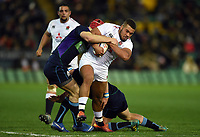 Ollie Lawrence of England U20 takes on the Scotland defence. U20 Six Nations match, between England U20 and Scotland U20 on March 15, 2019 at Franklin's Gardens in Northampton, England. Photo by: Patrick Khachfe / JMP