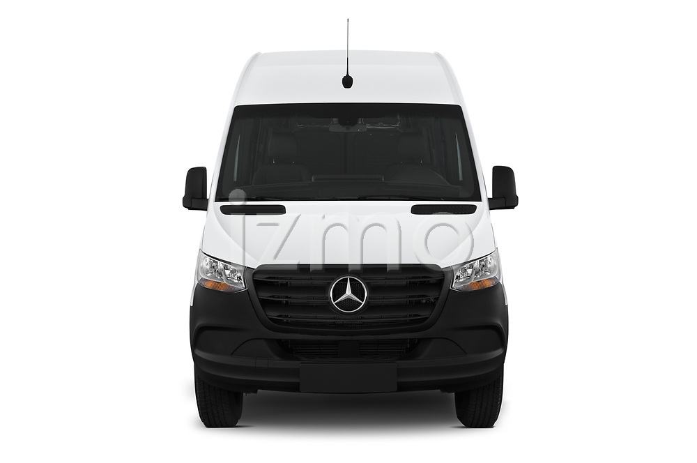 Car photography straight front view of a 2019 Mercedes Benz Sprinter-Cargo-Van Base 4 Door Cargo Van