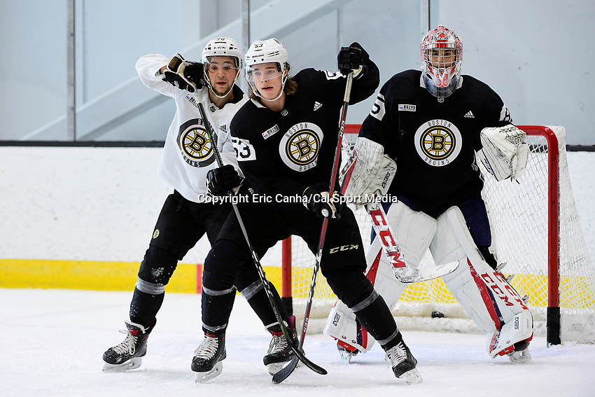 June 28, 2018: Boston Bruins forward Curtis Hall (53) and defenseman Lucas Ekestahljonsson work in front of the net protected by goalie Kyle Kyser (85) during the Boston Bruins development camp held at Warrior Ice Arena in Brighton Mass. Eric Canha/CSM