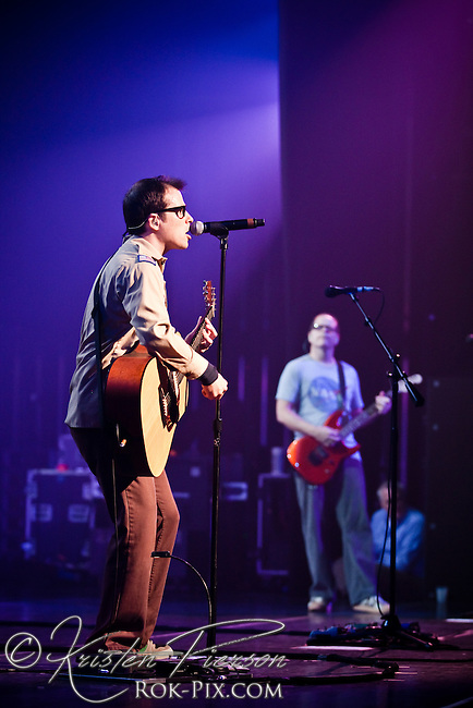 Weezer performing at the MGM Theater at Foxwoods Casino