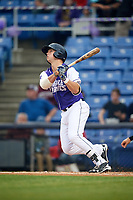 Binghamton Rumble Ponies third baseman David Thompson (8) at bat during a game against the Akron RubberDucks on May 12, 2017 at NYSEG Stadium in Binghamton, New York.  Akron defeated Binghamton 5-1.  (Mike Janes/Four Seam Images)