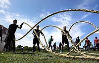 Nederland - Spaarnwoude - mei 2019. De Strong Viking Hills Edition. Obstacle Run in recreatiegebied Spaarwoude. Battle ropes. Foto mag niet in negatieve / schadelijke context gepubliceerd worden. Foto Berlinda van Dam / Hollandse Hoogte.