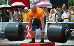 HAINAN ISLAND, CHINA - AUGUST 24:  Hafthor Bjornsson of Iceland competes at the Deadlift for Max event during the World's Strongest Man competition at Yalong Bay Cultural Square on August 24, 2013 in Hainan Island, China.  Photo by Victor Fraile
