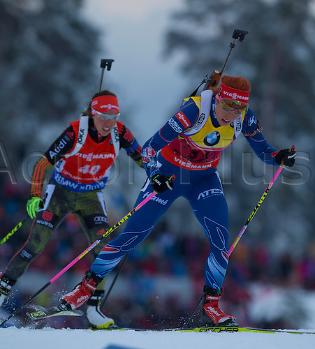 05.03.2016. Oslo Holmenkollen, Oslo, Norway. IBU Biathlon World Cup. Day OneL-R  Zanna Juskane of Latvia,  Gabriela Soukalova of Czech Republic competes in the Ladies 7.5km sprint competition during the IBU World Championships Biathlon in Holmenkollen Oslo, Norway.