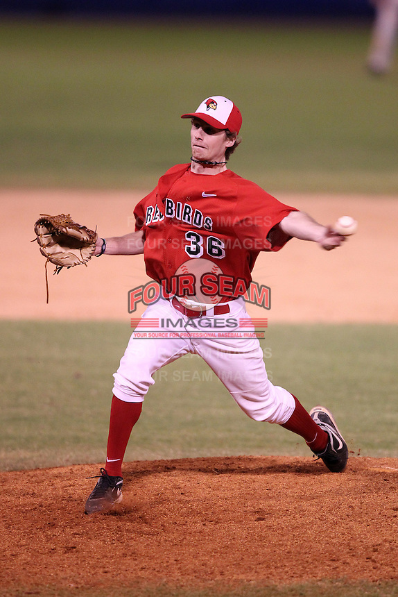 Illinois State Redbirds pitcher Kenny Long #36 during a game vs. the Xavier Musketeers at Chain of Lakes Stadium in Winter Haven, Florida;  March 5, 2011.  Illinois State defeated Xavier 7-6.  Photo By Mike Janes/Four Seam Images