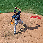 9 July 2017: Atlanta Braves pitcher Sam Freeman on the mound in relief against the Washington Nationals at Nationals Park in Washington, DC. The Nationals defeated the Braves to split their 4-game series. Mandatory Credit: Ed Wolfstein Photo *** RAW (NEF) Image File Available ***