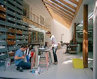 Portrait of Stefan and Saskia Diez at work in their design studio