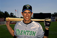 Trenton Thunder shortstop Nomar Garciaparra prior to a game versus the Norwich Navigators at Dodd Stadium in Norwich, Connecticut during the 1995 season.  (Ken Babbitt/Four Seam Images)