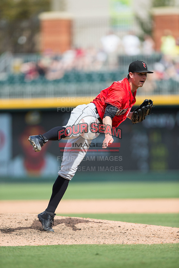 Indianapolis Indians relief pitcher Trey Haley (12) follows through on his delivery against the Charlotte Knights at BB&T BallPark on June 19, 2016 in Charlotte, North Carolina.  The Indians defeated the Knights 6-3.  (Brian Westerholt/Four Seam Images)