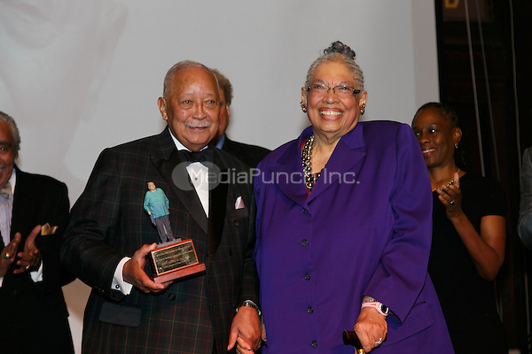NEW YORK, NY - APRIL 3: Hon. David N. Dinkins, Dr. Phyllis Harrison-Ross, Chirlane McCray pictured as David N. Dinkins, 106th Mayor of the City of New York, receives the Dr. Phyllis Harrison-Ross Public Service Award for a lifetime of public service at the New York Society of Ethical Culture in New York City on April 3, 2014. Credit: Margot Jordan/MediaPunch