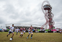 General view of play Team Dappy v Team Apprentice during the SOCCER SIX Celebrity Football Event at the Queen Elizabeth Olympic Park, London, England on 26 March 2016. Photo by Andy Rowland.