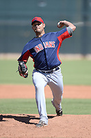 Cleveland Indians pitcher Elvis Araujo (54) during an instructional league game against the Cincinnati Reds on September 28, 2013 at Goodyear Training Complex in Goodyear, Arizona.  (Mike Janes/Four Seam Images)