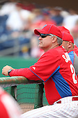 Philadelphia Phillies Ryne Sandberg #23 during a scrimmage vs the Florida State Seminoles  at Bright House Field in Clearwater, Florida;  February 24, 2011.  Philadelphia defeated Florida State 8-0.  Photo By Mike Janes/Four Seam Images