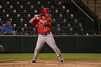 Los Angeles Angels outfielder Zach Gibbons (47) during a Minor League Spring Training game against the Milwaukee Brewers at Tempe Diablo Stadium on March 29, 2018 in Tempe, Arizona. (Zachary Lucy/Four Seam Images)