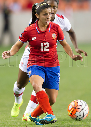 19.02.2016. Houston, TX, USA.  Costa Rica Defender Lixy Rodríguez (12) during the Women's Olympic semi-final qualifying game between Canada and Costa Rica at BBVA Compass Stadium in Houston, Texas.