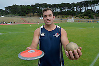 Hutt International Boys' School student Ben Power breaks both the shot put and discus records at Hutt Zone Championships, Newtown Park, Wellington, New Zealand on Wednesday 11 March 2015. <br />