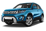 Stock pictures of low aggressive front three quarter view of a 2015 Suzuki Vitara Lux Extra 5 Door SUV