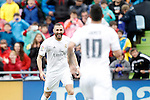 Real Madrid's Karim Benzema (l) and James Rodriguez celebrate goal during La Liga match. April 16,2016. (ALTERPHOTOS/Acero)