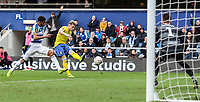 Leeds United's Ezgjan&nbsp;Alioski shoots at goal <br /> <br /> Photographer Andrew Kearns/CameraSport<br /> <br /> The Emirates FA Cup Third Round - Queens Park Rangers v Leeds United - Sunday 6th January 2019 - Loftus Road - London<br />  <br /> World Copyright &copy; 2019 CameraSport. All rights reserved. 43 Linden Ave. Countesthorpe. Leicester. England. LE8 5PG - Tel: +44 (0) 116 277 4147 - admin@camerasport.com - www.camerasport.com
