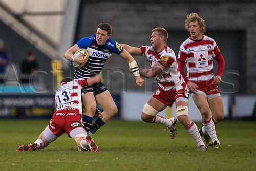 29.04.2016. AJ Bell Stadium, Salford, England. Aviva Premiership Sale Sharks versus Gloucester Rugby. Sale Sharks fullback Sam James is tackled by Gloucester Rugby centre Henry Trinder.