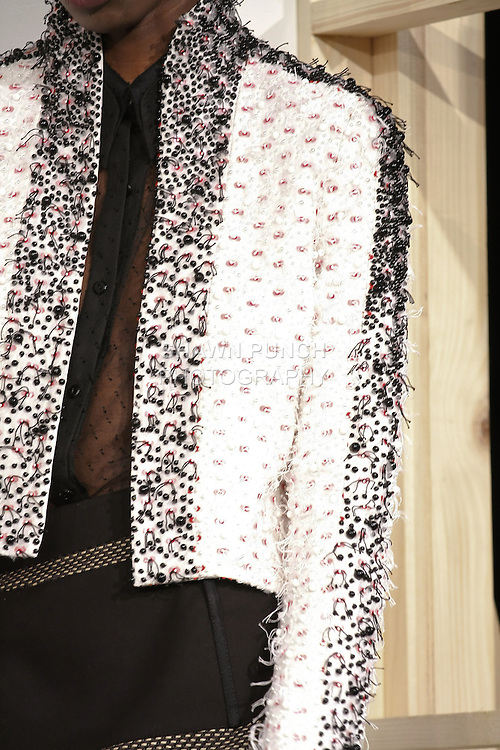 Details of outfit by Jeffrey Monteiro, for the Bill Blass Spring 2011 fashion presentation, during Mercedes-Benz Fashion Week, September 15, 2010.