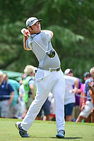 Jon Rahm (ESP) watches his tee shot on 9 during Saturday's round 3 of the PGA Championship at the Quail Hollow Club in Charlotte, North Carolina. 8/12/2017.<br /> Picture: Golffile | Ken Murray<br /> <br /> <br /> All photo usage must carry mandatory copyright credit (&copy; Golffile | Ken Murray)