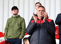 Fleetwood Town fans enjoy the match atmosphere at the Keepmoat Stadium<br /> <br /> Photographer David Shipman/CameraSport<br /> <br /> The EFL Sky Bet League One - Doncaster Rovers v Fleetwood Town - Saturday 6th October 2018 - Keepmoat Stadium - Doncaster<br /> <br /> World Copyright &copy; 2018 CameraSport. All rights reserved. 43 Linden Ave. Countesthorpe. Leicester. England. LE8 5PG - Tel: +44 (0) 116 277 4147 - admin@camerasport.com - www.camerasport.com