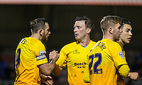 Garry Thompson of Wycombe Wanderers congratulates goal scorer Paul Hayes (left) of Wycombe Wanderers during the Sky Bet League 2 match between Dagenham and Redbridge and Wycombe Wanderers at the London Borough of Barking and Dagenham Stadium, London, England on 9 February 2016. Photo by Andy Rowland.