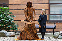 Pictured: Artist Sarah Tombs. Monday 05 February 2018<br /> Re: A sculpture has been unveiled at Welsh Centre for Burns and Plastic Surgery in Morriston Hospital to commemorate its links with Port Talbot steelworks in Wales, UK.<br /> It was inspired by Welsh mythology and created from Tata steel by artist Sarah Tombs.<br /> The sculpture is of the legendary Lady of Llyn y Fan Fach and was unveiled by Abertawe Bro Morgannwg health board to mark the 70th birthday of the NHS.<br /> According to the Mabinogion and The Red Book of Hergest, she was mother of the Physicians of Myddfai, who used magical powers to heal the sick and symbolises &quot;regeneration and healing&quot;.