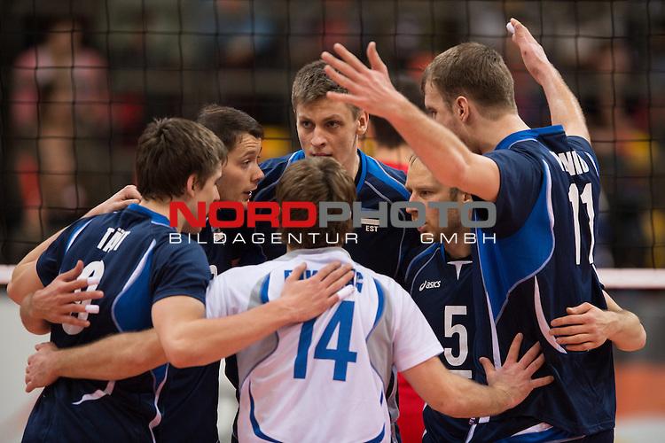 05.01.2014, MHP Arena, Ludwigsburg<br /> Volleyball, Qualifikation WM 2014, Estland vs. Kroatien<br /> <br /> Jubel Robert T&auml;ht / Taeht (#9 EST), Keith Puparth (#3 EST), Andri Aganits (#19 EST), Kert Toobal (#5 EST), Oliver Venno (#11 EST), Rait Rikberg (#14 EST)<br /> <br />   Foto &copy; nordphoto / Kurth