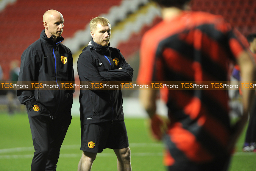 Nicky Butt and Paul Scholes watch over the warmup - Manchester United Under-19 vs Shaktar Donetsk Under-19- UEFA Youth League Football at Leigh Sports Village - 09/12/13 - MANDATORY CREDIT: Greig Bertram/TGSPHOTO - Self billing applies where appropriate - 0845 094 6026 - contact@tgsphoto.co.uk - NO UNPAID USE