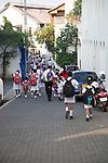 School girls in uniform walking in a street in the historic town of Galle, Sri Lanka, Asia