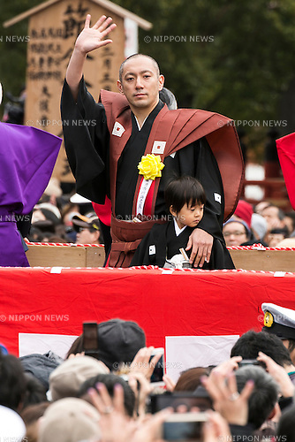 Kabuki actor Ichikawa Ebizo XI with his son attend a Setsubun festival at Naritasan Shinshoji Temple on February 3, 2016, in Chiba, Japan. Setsubun is an annual Japanese festival celebrated on February 3rd and marks the day before the beginning of Spring. Celebrations involve throwing soybeans (known as mamemaki) out of the house to protect against evil spirits and into the house to invite good fortune. In many Japanese families one member will wear an ogre mask whilst others throw beans at him or her. The celebration at Naritasan Shinshoji Temple is one of the biggest in Japan and organizers this year expect over 50,000 people to attend the event. Each year famous sumo wrestlers and actors are also invited to participate in throwing the beans. (Photo by Rodrigo Reyes Marin/AFLO)