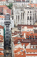 Elevator Elevador de Santa Justa. Igreja do Carmo church. City view. From Castelo de Sao Jorge. Lisbon, Portugal