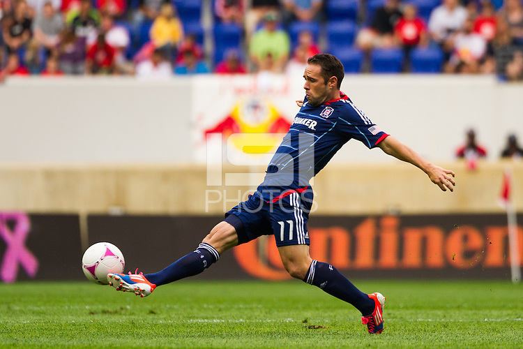 Daniel Paladini (11) of the Chicago Fire. The Chicago Fire defeated the New York Red Bulls 2-0 during a Major League Soccer (MLS) match at Red Bull Arena in Harrison, NJ, on October 06, 2012.