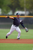 New York Yankees Jesus Bastidas (17) during a Minor League Spring Training game against the Atlanta Braves on March 12, 2019 at New York Yankees Minor League Complex in Tampa, Florida.  (Mike Janes/Four Seam Images)