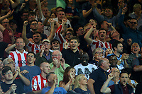 Stoke City fans celebrate they side taking the lead<br /> <br /> Photographer Alex Dodd/CameraSport<br /> <br /> The Carabao Cup Second Round- Leeds United v Stoke City - Tuesday 27th August 2019  - Elland Road - Leeds<br />  <br /> World Copyright © 2019 CameraSport. All rights reserved. 43 Linden Ave. Countesthorpe. Leicester. England. LE8 5PG - Tel: +44 (0) 116 277 4147 - admin@camerasport.com - www.camerasport.com