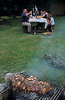Europe/France/Gastronomie générale: Repas en plein air - Cuisson des côtes de boeuf - Barbecue